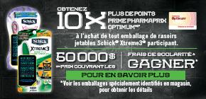 Obtenez 10x plus de points Pharmaprix OptimumMD* à l'achat de tout rasoir jetable Xtreme3MD de SchickMD participant.