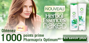 Obtenez 1 000 points prime Pharmaprix OptimumMD* à l'achat de 2 produits Herbal Essence Naked participants.