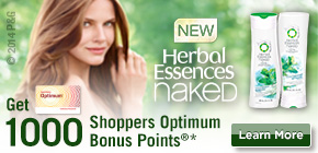 Get 1000 Shoppers Optimum Bonus Points®*  when you buy any 2 participating Herbal Essences Naked products.