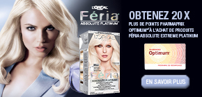 Obtenez 20 x plus de points Pharmaprix OptimumMD* à l'achat d'un produit Feria Absolute Extreme Platinum.