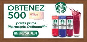Obtenez 500points prime Pharmaprix OptimumMD* à l'achat de 2produits Starbucks Refreshers® participants.