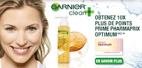 Obtenez 10x plus de points Pharmaprix OptimumMD* à l'achat d'une huile nettoyante nourrissante Garnier Clean+.