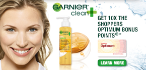 Get 10x the Shoppers Optimum Points®* when you buy Garnier Clean+ Nourishing Cleansing Oil product.