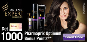 Get 1000 Pharmaprix Optimum Bonus Points®*  when you buy any 2 participating Pantene PRO-V Expert products.
