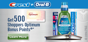Get 500 Shoppers Optimum Bonus Points®*  when you buy any 2 participating Crest Pro-Health Toothpaste, Rinse and Oral-B Pro-Health Cross Action Toothbrush products.