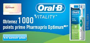 Obtenez 1000points prime Pharmaprix OptimumMD* à l'achat de tout produit Oral-B VitalityMC participant.
