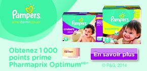 Obtenez 1 000 points prime Pharmaprix OptimumMD* à l'achat de tout produit participant Pampers ou de couches Cruisers, au choix.