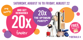 Spend $75 or more on cosmetics, skin care and fragrance and get 20x the points!
