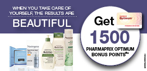 Neutrogena® or Aveeno® products get 1500 Pharmaprix Optimum Bonus Points®