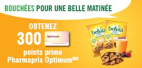Obtenez 300 points prime Optimum à l'achat de Bouchées belVita