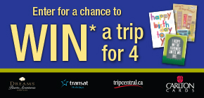 You could WIN* a family trip for 4 to Riviera Maya, Mexico!  Courtesy of Carlton Cards and eOne Entertainment.