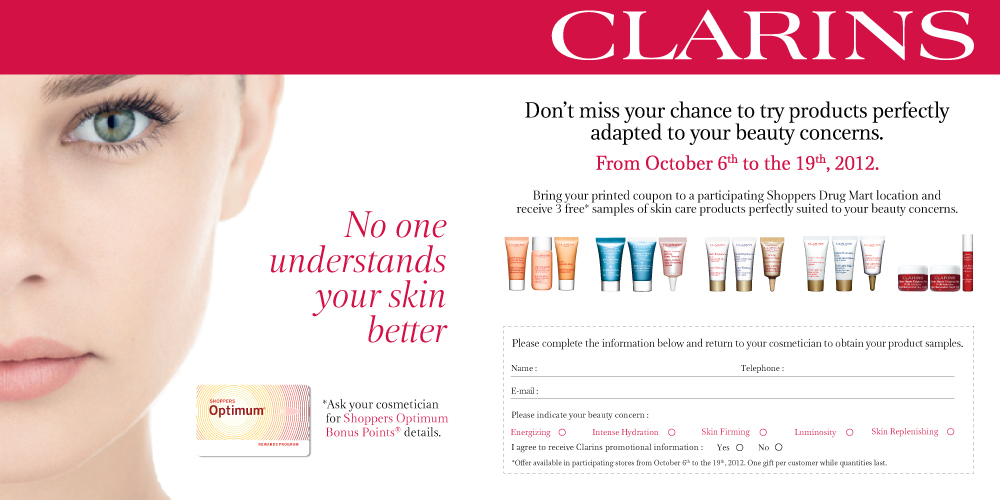 free clarins samples shoppers drug mart coupon