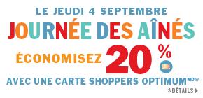 Les Aînés économisent 20 % sur les produits à prix courant  sur présentation d'une carte Shoppers Optimum.