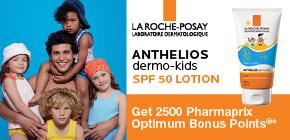 Get 2500 Pharmaprix Optimum Bonus Points®* when you purchase Anthelios dermo-kids SPF 50.