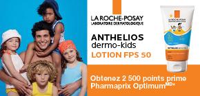 Obtenez 2 500 points prime Pharmaprix OptimumMD* à l'achat de Anthelios dermo-kids SPF 50