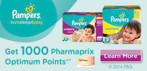 Get 1,000 Pharmaprix Optimum Bonus Points®* when you purchase any participating Pampers Swaddlers® or Cruiser diaper®.