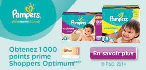 Obtenez 1 000 points prime Shoppers OptimumMD* à l'achat de tout produit participant Pampers ou de couches Cruisers, au choix.