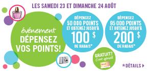 Obtenez jusqu'à 200 $ de rabais  avec la promotion «Dépensez vos points»!