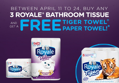 3 Royale Bath Tissue = FREE Tiger Towel!