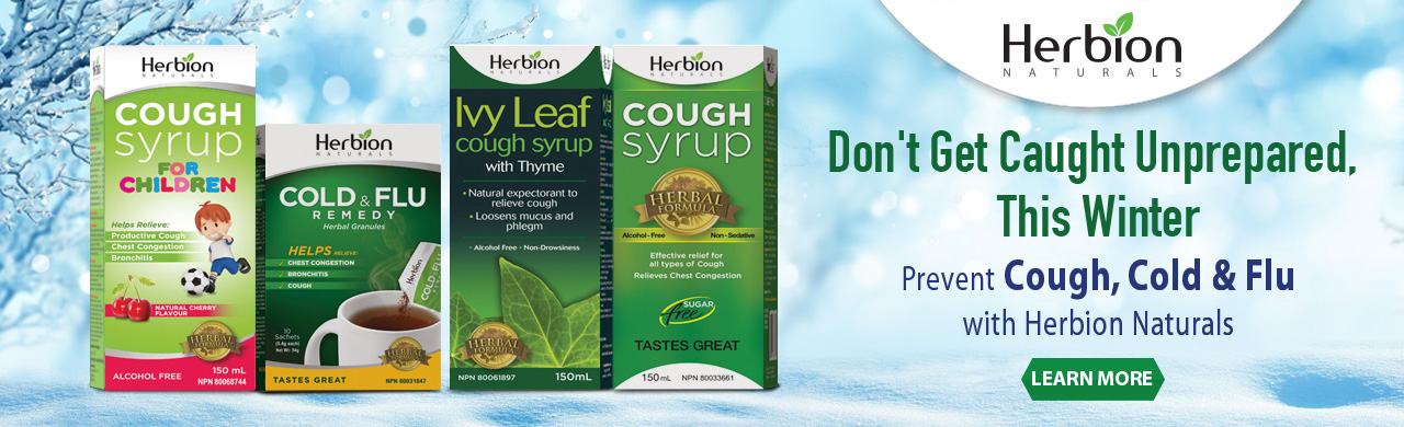 Don't get caught unprepared, this winter. Prevent Cough Cold & Flu with Herbion Naturals Cough Syrup Sugar Free, Cough Syrup for Children, Ivy Leaf Cough Syrup and Cold & Flu Remedy Granules.
