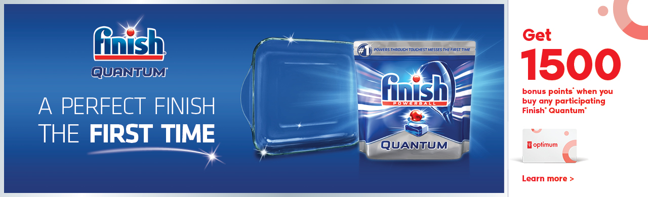 Get 1500 bonus points* when you buy any participating Finish® Quantum®