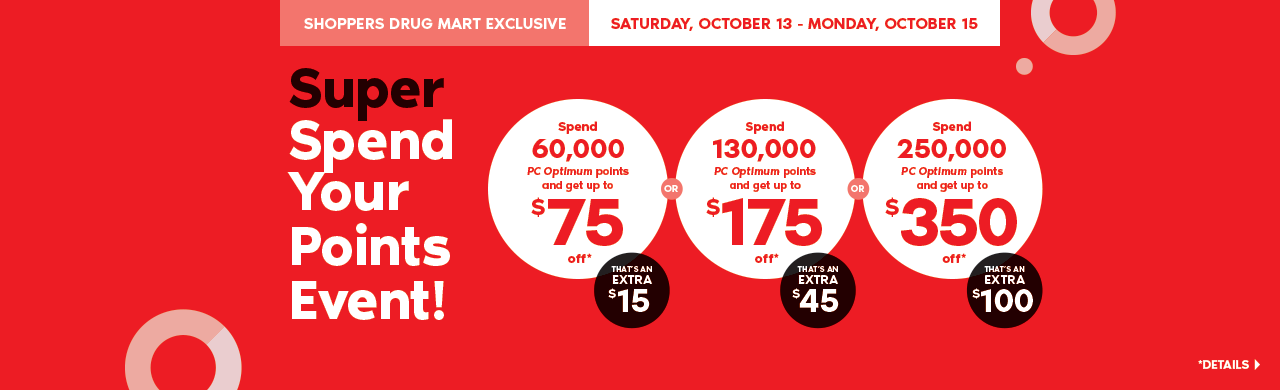 October 13th to 15th:  It's the Super Spend Your Points Event. Spend 60,000 points and get up to $75 off – that's an extra $15. Spend 130,000 points and get up to $175 off – that's an extra $45. Spend 250,000 points and get up to $350 off – that's an extra $100. A Shoppers Drug Mart Exclusive.