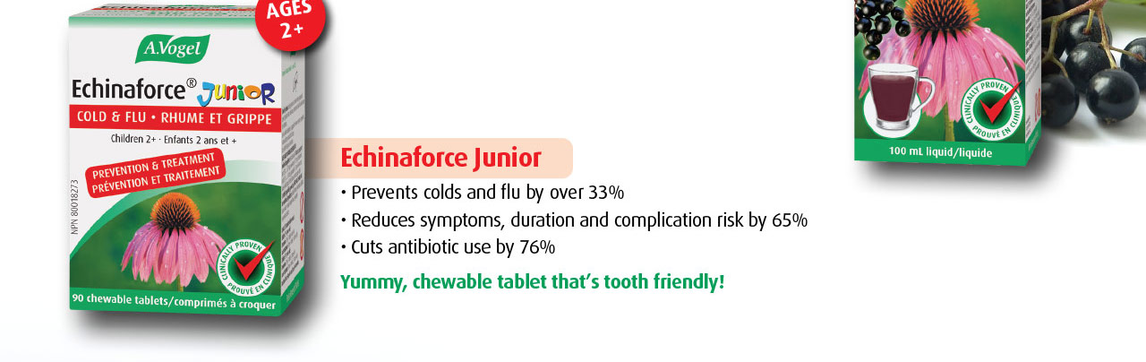 Echinaforce Junior prevents colds and flu by over 33%. Reduces symptoms, duration and complication risk by 65%. Cuts antibiotic use by 76%.