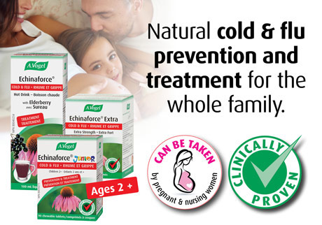 Echinaforce. Clinically proven natural cold and flu prevention and treatment for the whole family, including pregnant and nursing women.