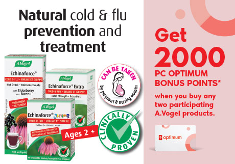 Get 2,000 bonus points* when you buy any 2 participating A.Vogel Echinaforce products. Clinically proven natural cold and flu prevention and treatment.
