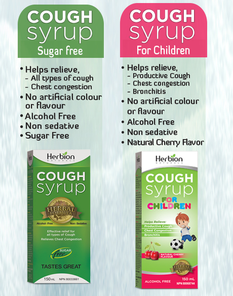 Herbion Cough Syrup Sugar Free & Cough Syrup for Children helps relieve all types of cough, chest congestion and bronchitis.