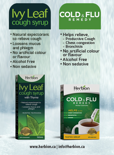 Herbion Ivy Leaf Cough Syrup is a natural expectorant for cough relief & Herbion Cold & Flu Remedy helps relieve productive cough.