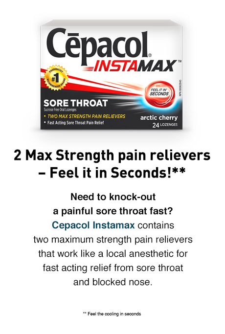 Suffering from a painful sore throat? Cepacol Extra Strength contains maximum strength numbing medication for sore throat pain relief.