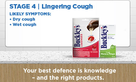 Stage 4. Lingering cough. Likely symptoms: Dry cough, wet cough. Your best defence is knowledge - and the right products.
