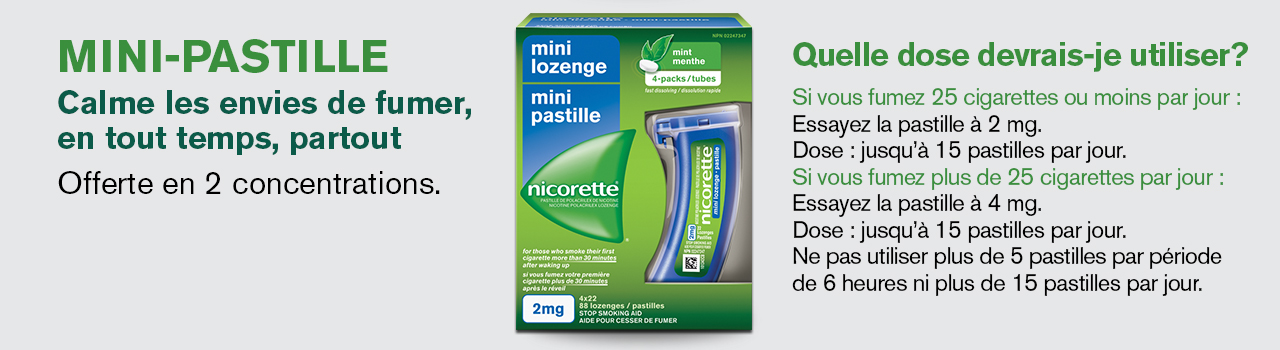 Mini-lozenge calms cravings anytime, anywhere. Available in 2 strengths.