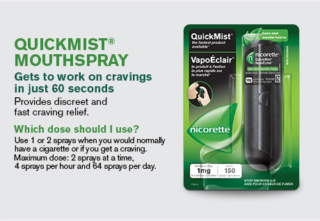 Quickmist Mouthspray gets to work on cravings in just 60 seconds. Provides discreet and fast craving relief.