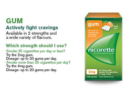 Gum actively fights cravings. Available in 2 strengths and a wide variety of flavours.