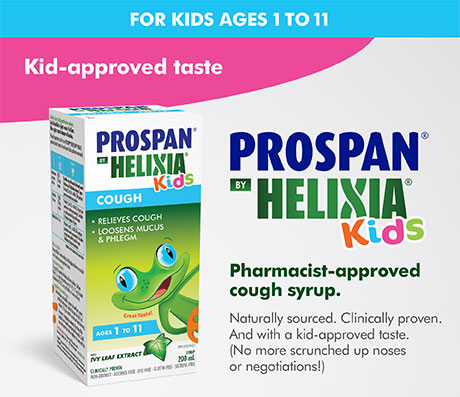 Prospan by Helixia Kids. Pharmacist-approved cough syrup. Naturally sourced. Clinically proven. And with a kid-approved taste.