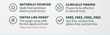Naturally sourced. Clinically proven. Tastes like honey. Dye-free, alcohol-free, gluten-free, sucrose-free