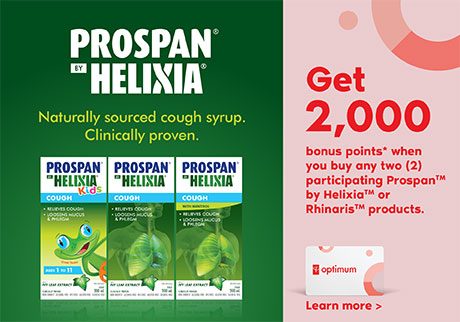 Get 2,000 bonus points* when you buy any 2 participating Prospan by Helixia and Rhinaris products.