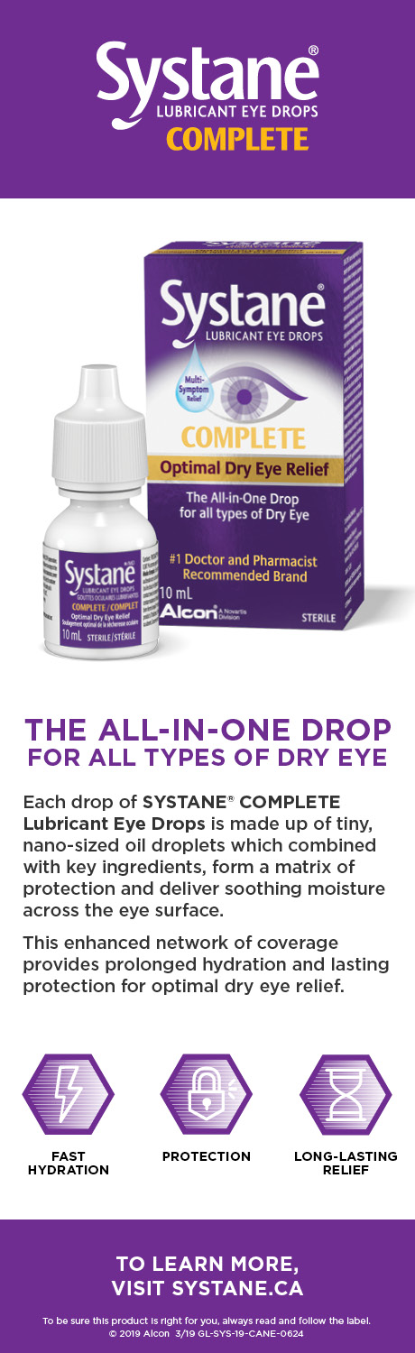 SYSTANE® COMPLETE Lubricant Eye Drops: THE ALL-IN-ONE DROP FOR ALL TYPES OF DRY EYE.