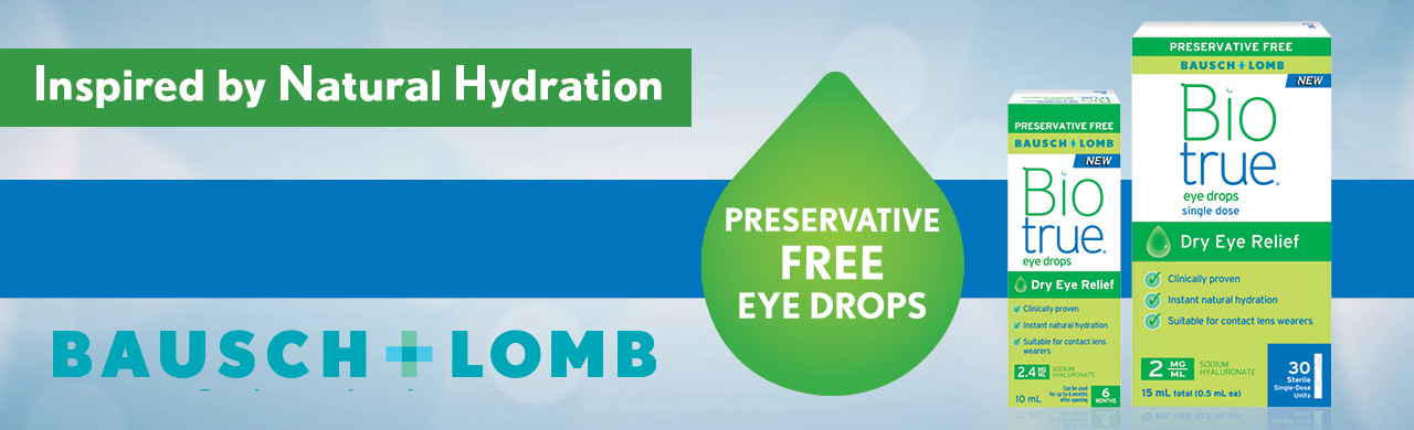 Preservative-Free Biotrue® Eye Drops deliver instant natural hydration and provide long-lasting relief for dry eye symptoms.