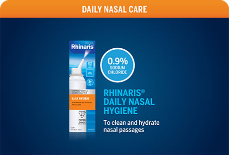 Rhinaris. A complete line to soothe nasal congestion and nasal dryness.