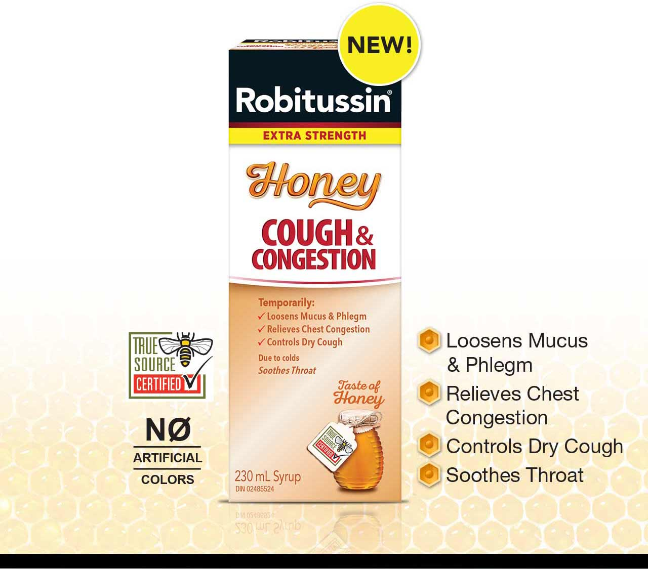 Loosens Mucus & Phlegm, Relieves chest congestion, Controls Dry Cough, Soothes Throat.
