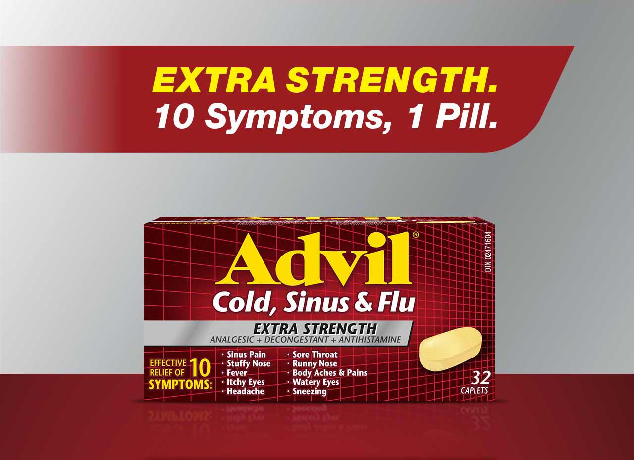 Advil Cold, Sinus and Flu. Extra Strength. 10 Symptoms, 1 Pill.