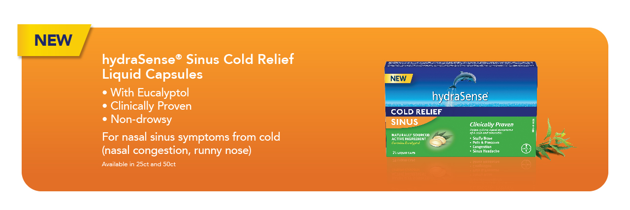 New hydraSense Sinus Cold Relief Liquid Capsules. For nasal sinus symptoms from cold (nasal congestion, runny nose)