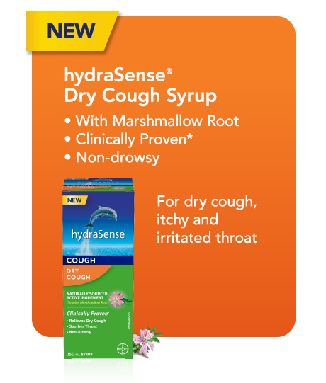 New hydraSense Dry Cough Syrup. For dry cough, itchy and irritated throat