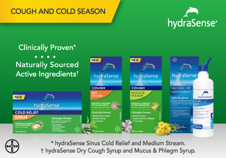 hydraSense, your ally through this Cough and Cold season. hydraSense products with clinically proven, naturally sourced active ingredients