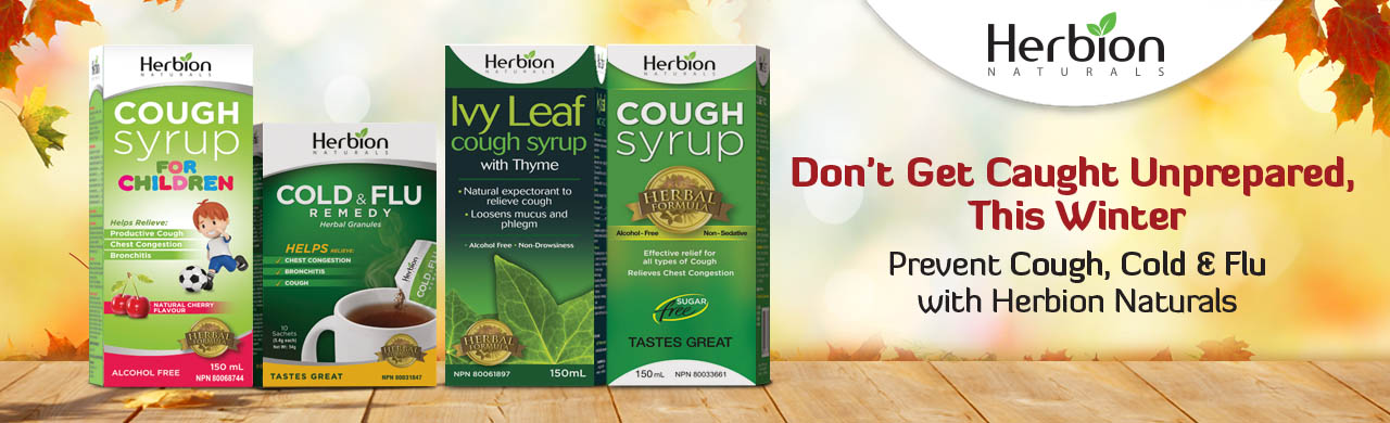 Don't get caught unprepared, this winter. Prevent Cough, Cold & Flu with Herbion Naturals Cough Syrups & Granules.