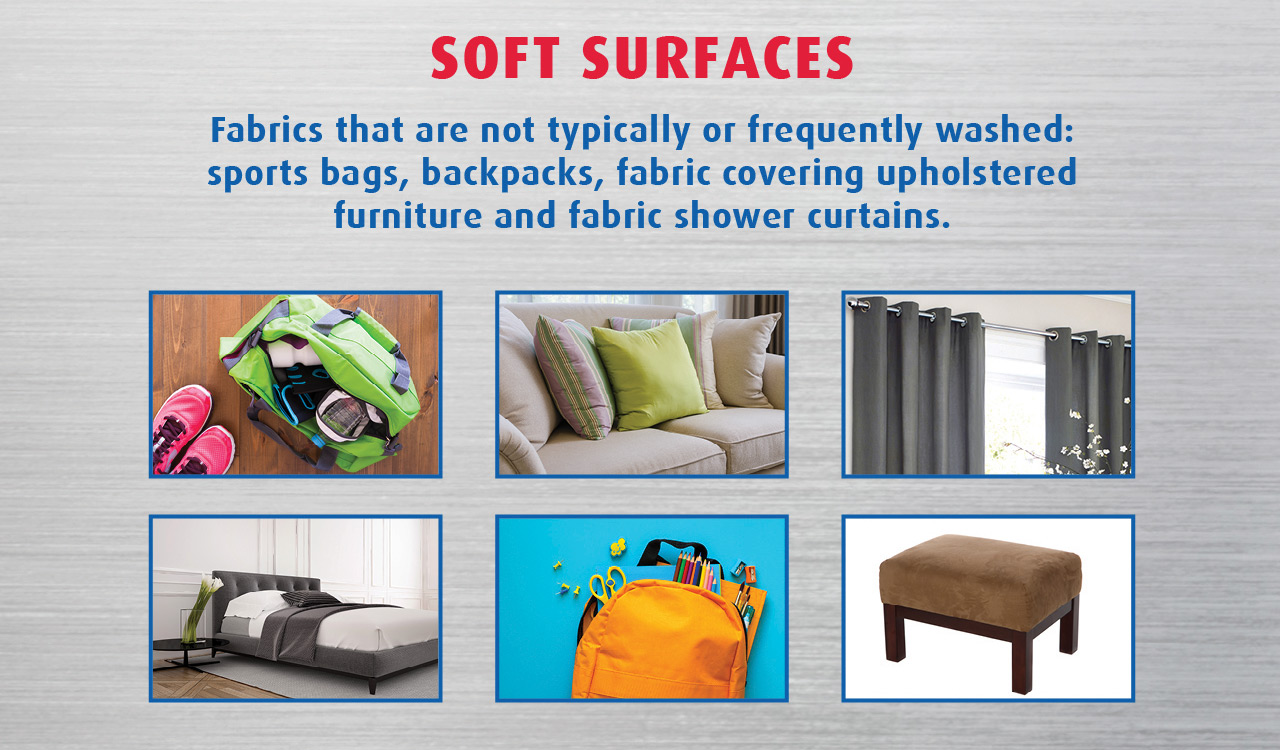 Fabrics that are not frequently washed: sport bags, backpack and fabric covering upholstered furniture etc.