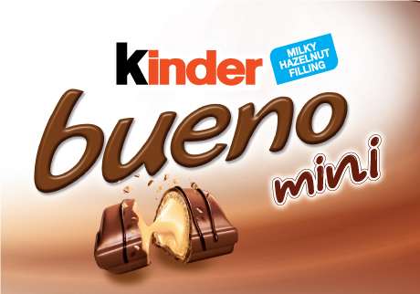 Try the new Kinder® Bueno Mini! Indulge in the delightful taste of milk chocolate covered wafers and smooth milky hazelnut filling, now in bite-sized pieces!